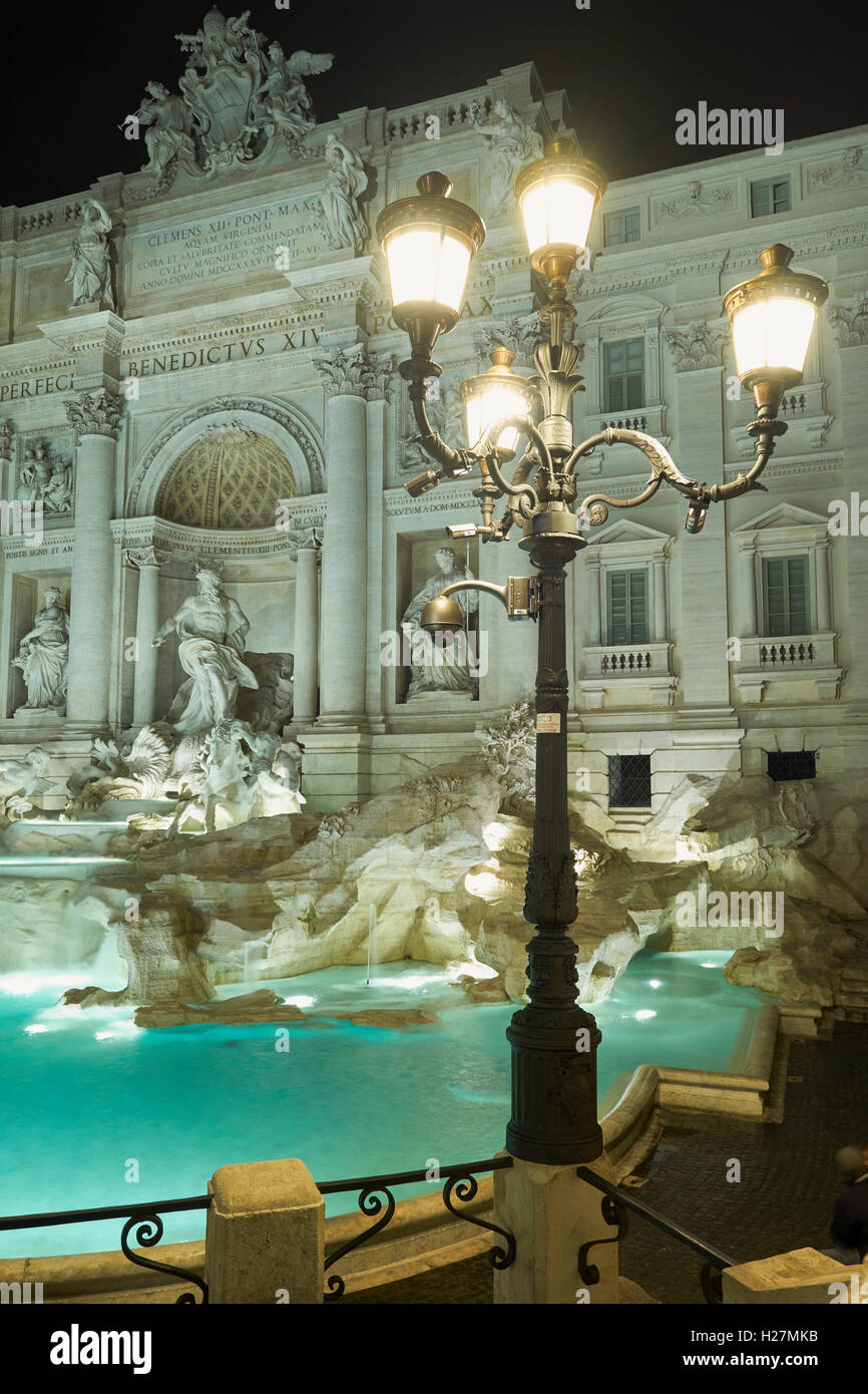 Trevi fountain after the restauration. Night view - Stock Image