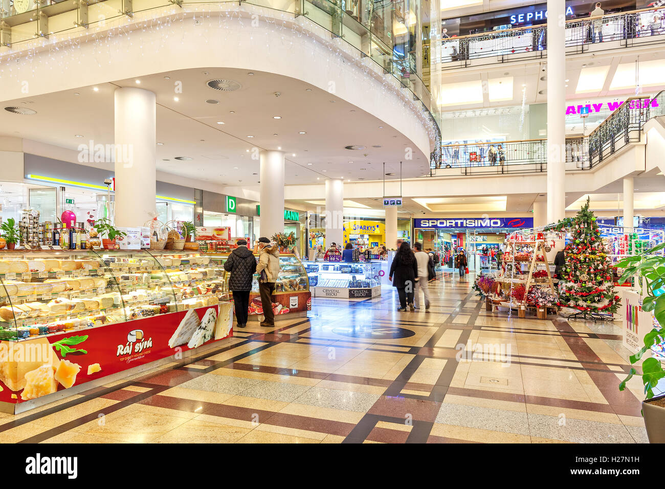 Interior view of Palladium shopping center decorated for Christmas holidays. - Stock Image