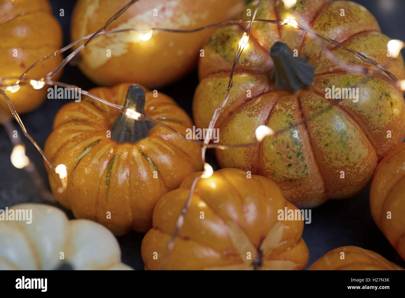 Halloween pumpkins with electric illumination Stock Photo