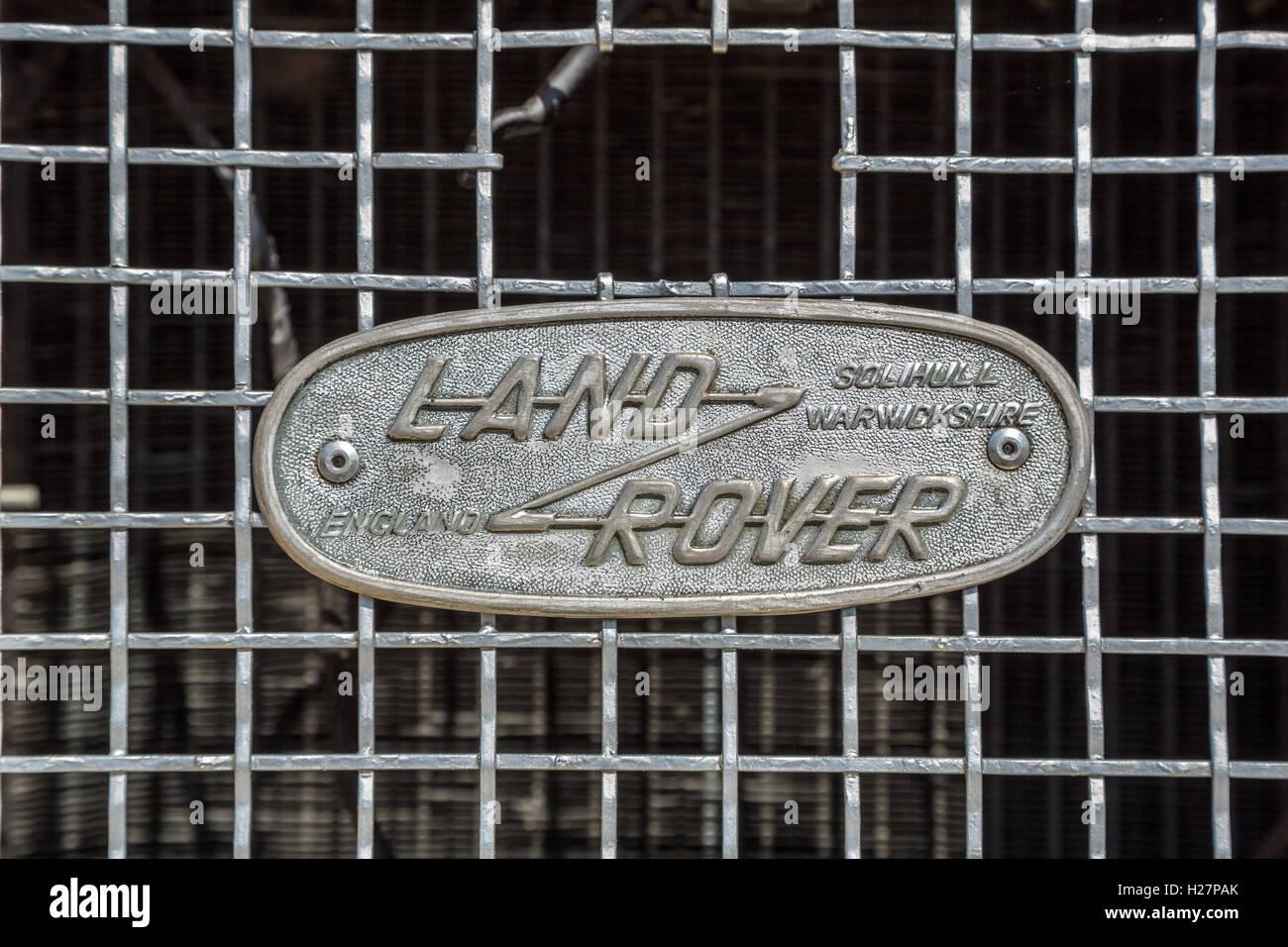 KIEV, UKRAINE - April 26, 2015: The Retro OldCarFest in Kiev. Retro logo Land Rover closeup on a radiator. - Stock Image