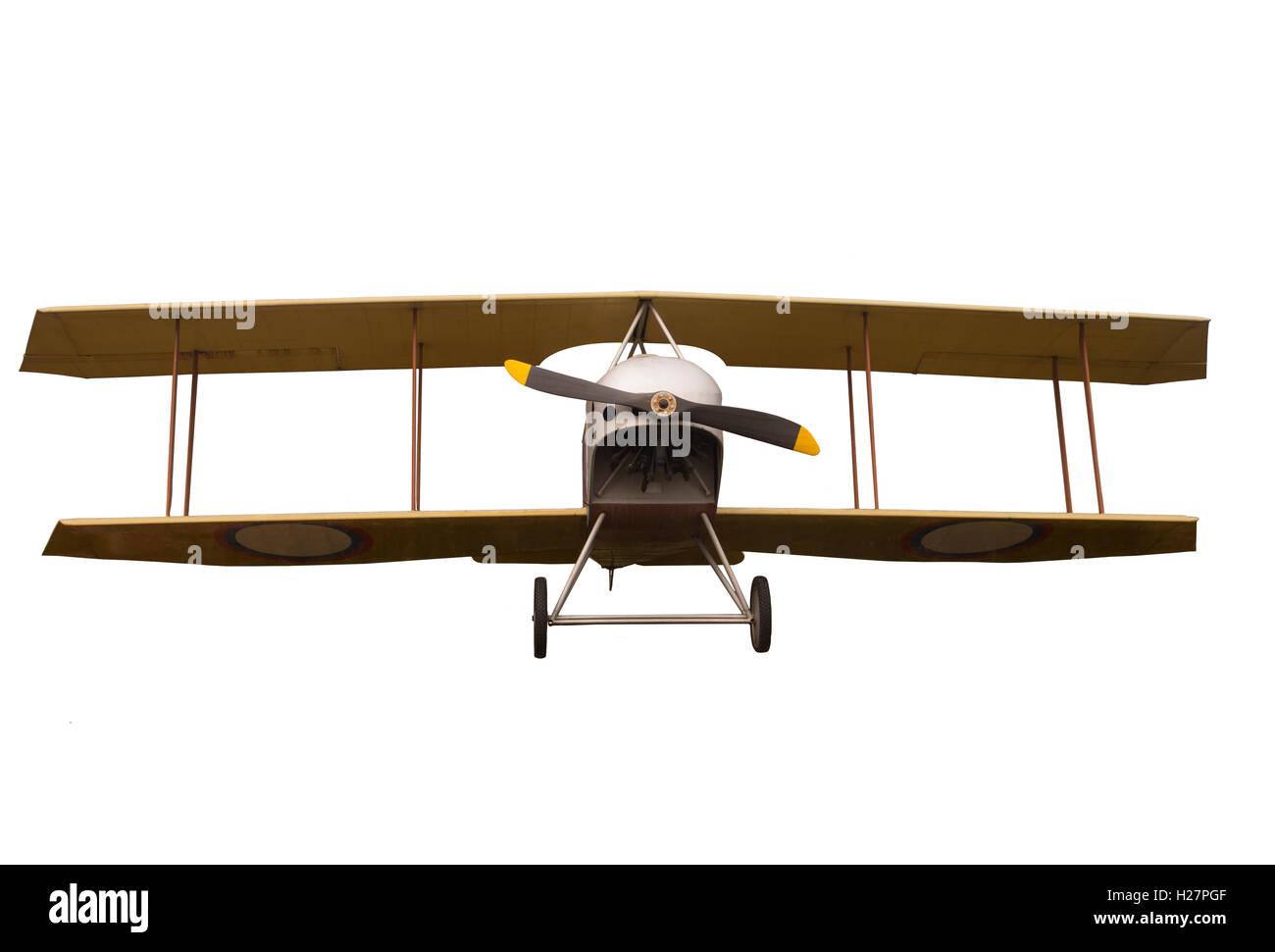 Vintage Propeller Biplane Isolated on White Background - Stock Image