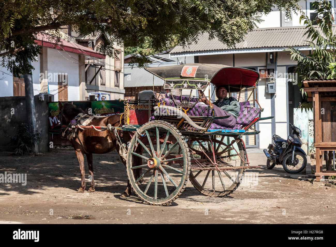 An old and faded calash with coach driver resting, in New Bagan (Myanmar).  Vieille calèche défraîchie - Stock Image