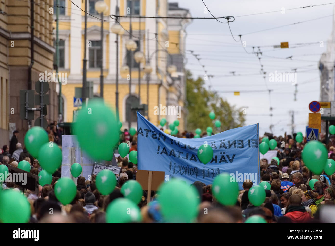 Protest rally against racism and right wing extremist violence in Finland - Stock Image