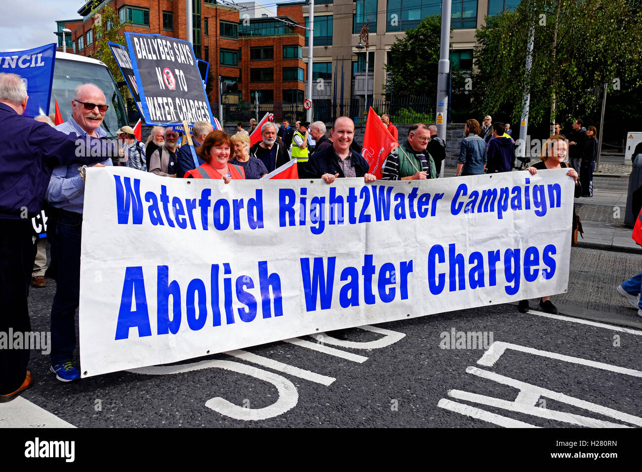 Water Charges protestors marching through Dublin Ireland September 2016 - Stock Image
