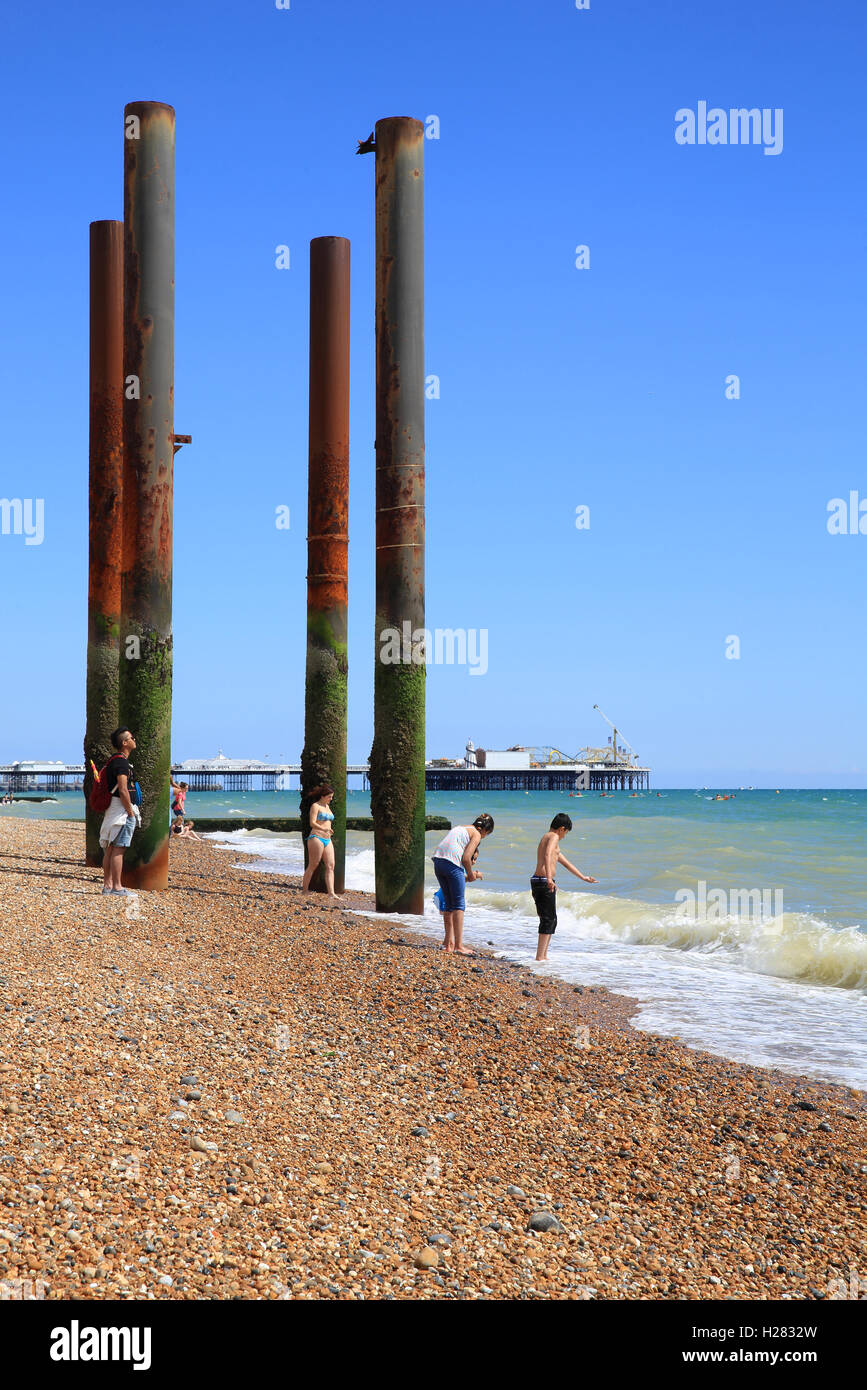 The skeletal remains of the supports of Brighton West Pier, in East Sussex, England, UK Stock Photo