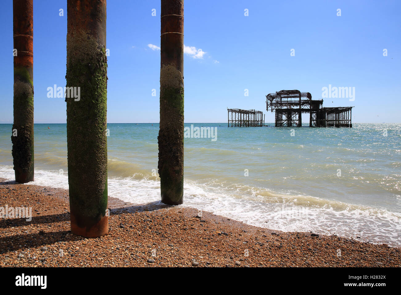 The skeletal remains of the Pavilion and supports of Brighton West Pier, in East Sussex, England, UK - Stock Image