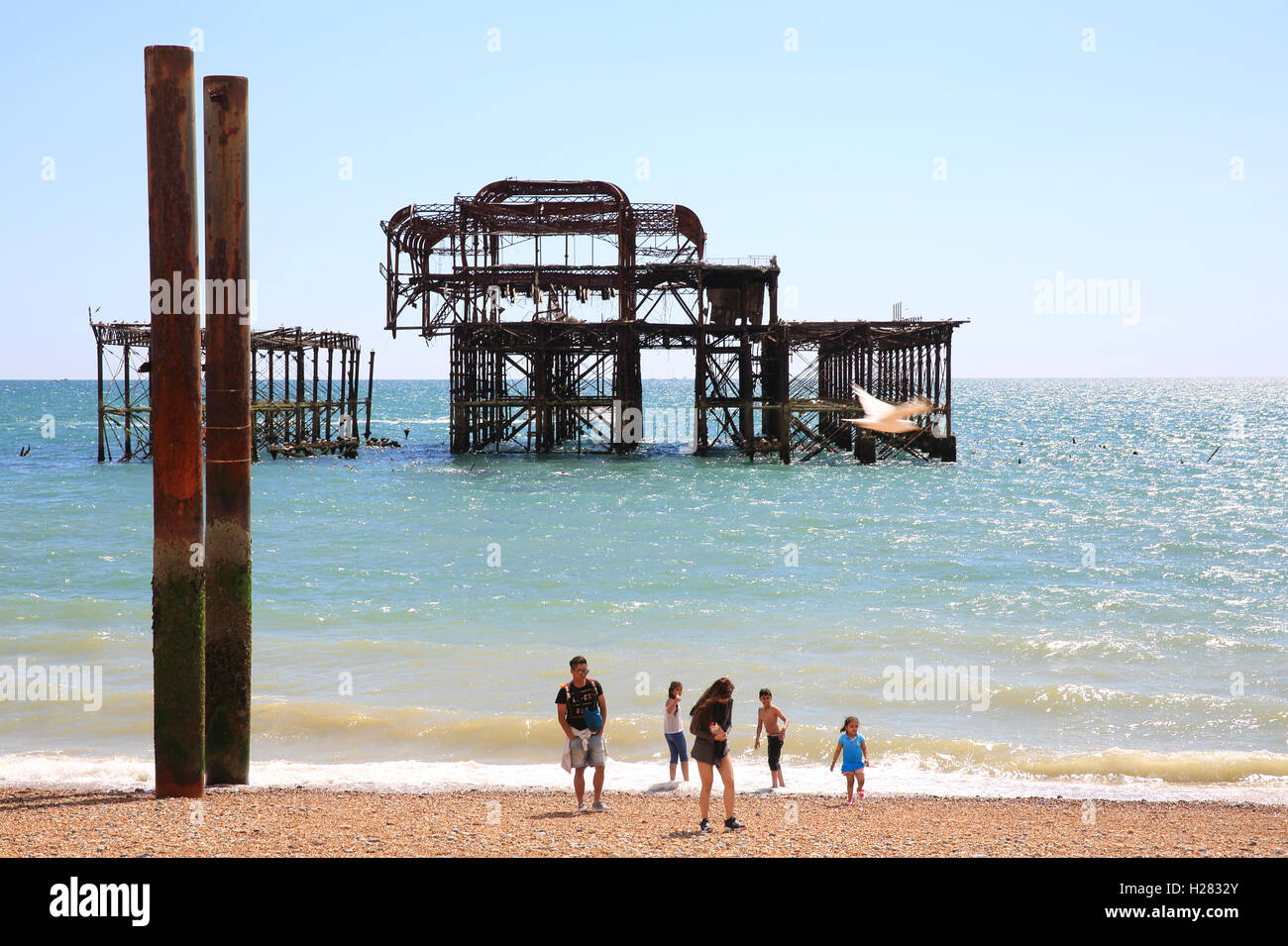 The skeletal remains of the Pavilion and supports of Brighton West Pier, in East Sussex, England, UK Stock Photo