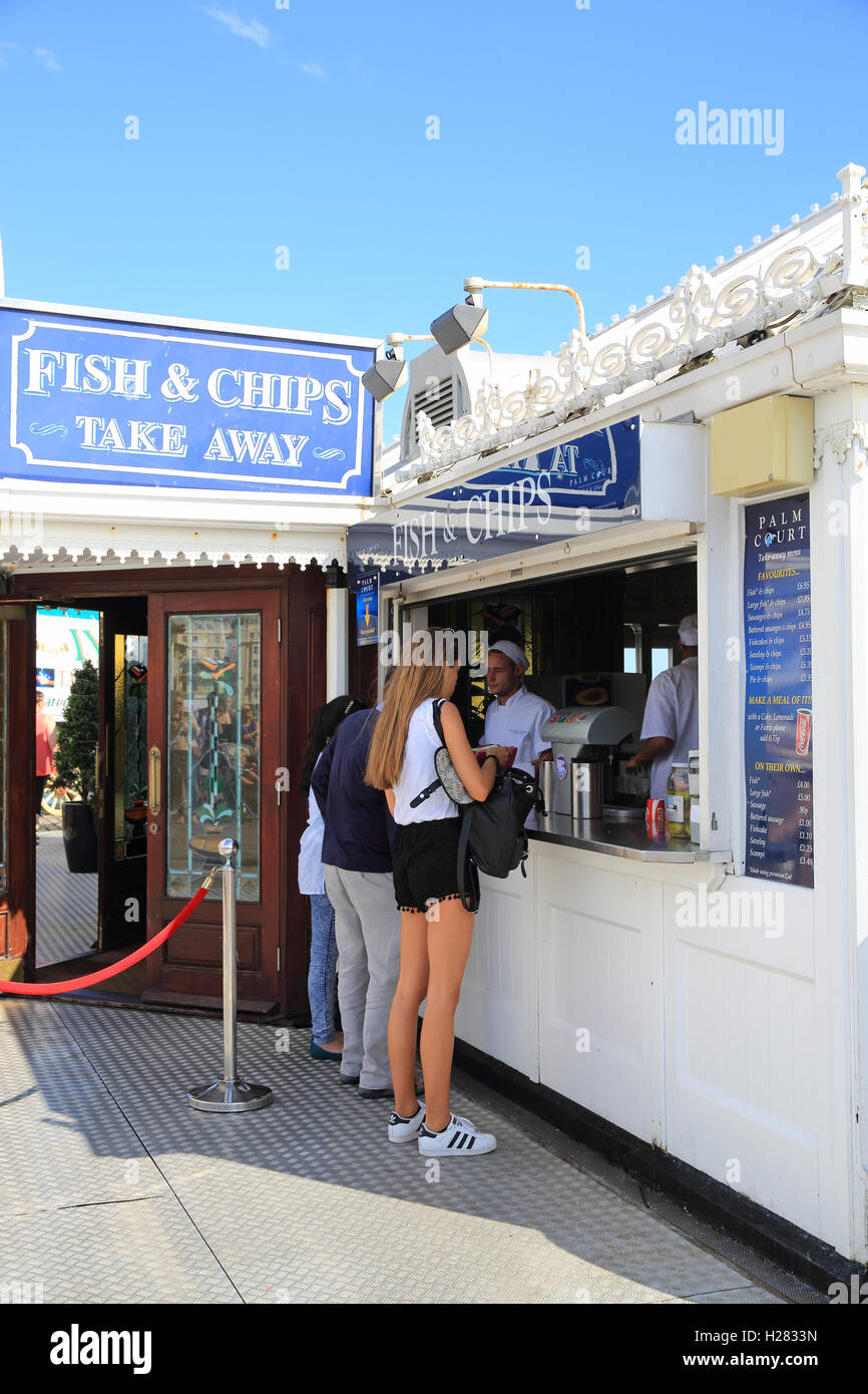 Traditional fish & chip cafe , on Brighton Palace Pier, in east Sussex, England, UK - Stock Image