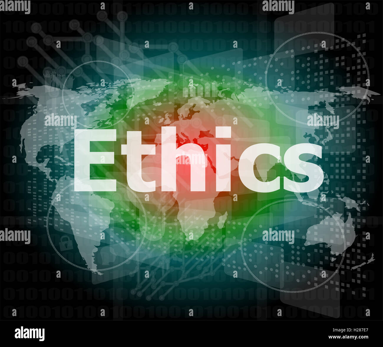 ethics word on digital touch screen - Stock Image