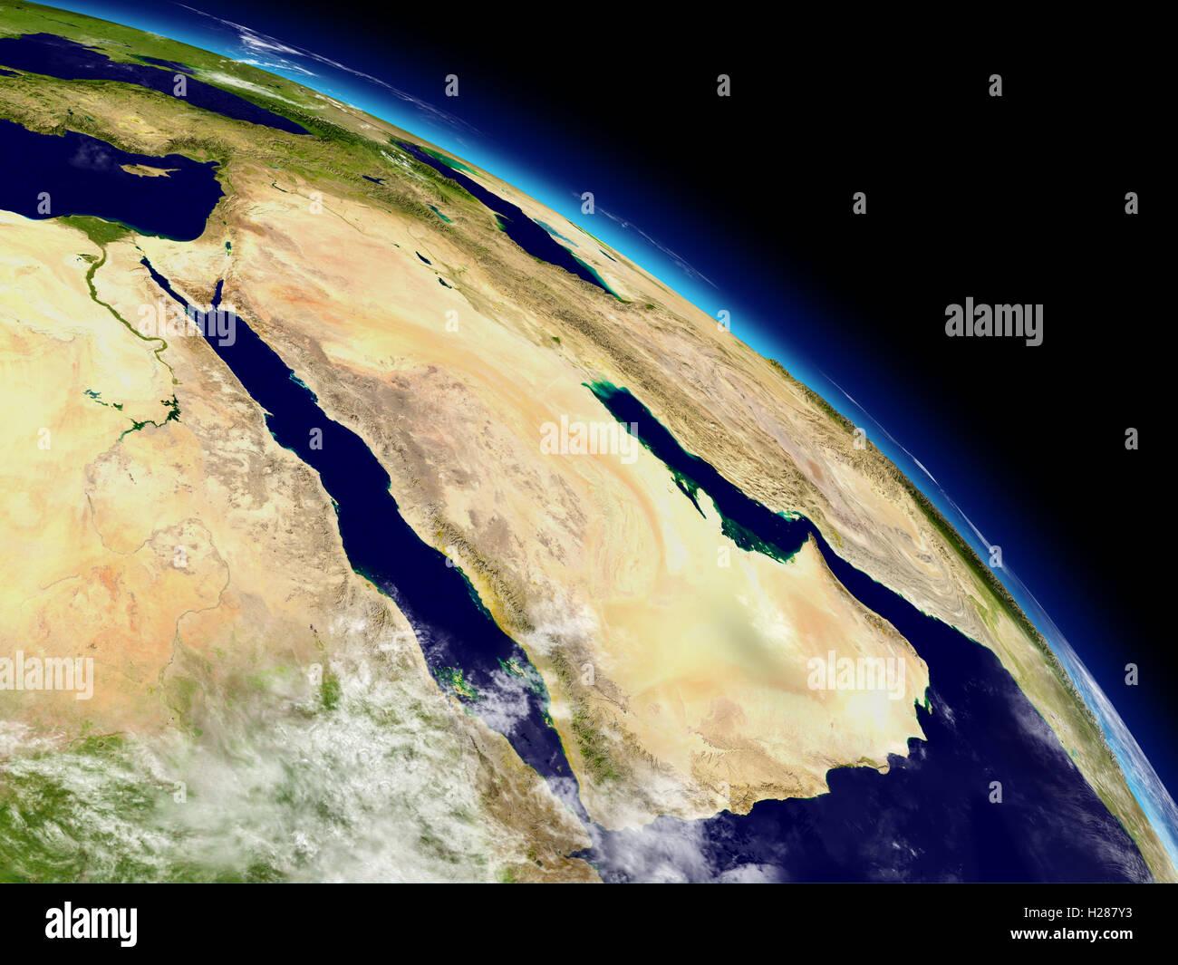 Arabian peninsula from space - Stock Image