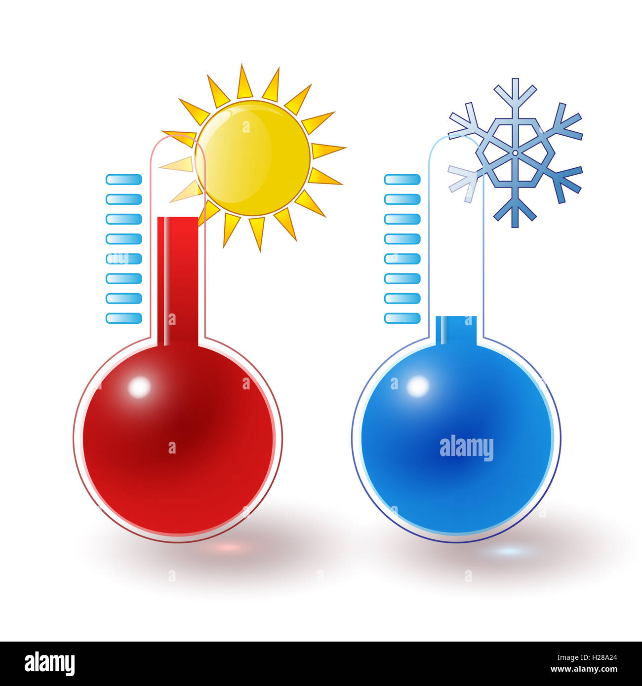 thermometers hot cold set - Stock Image
