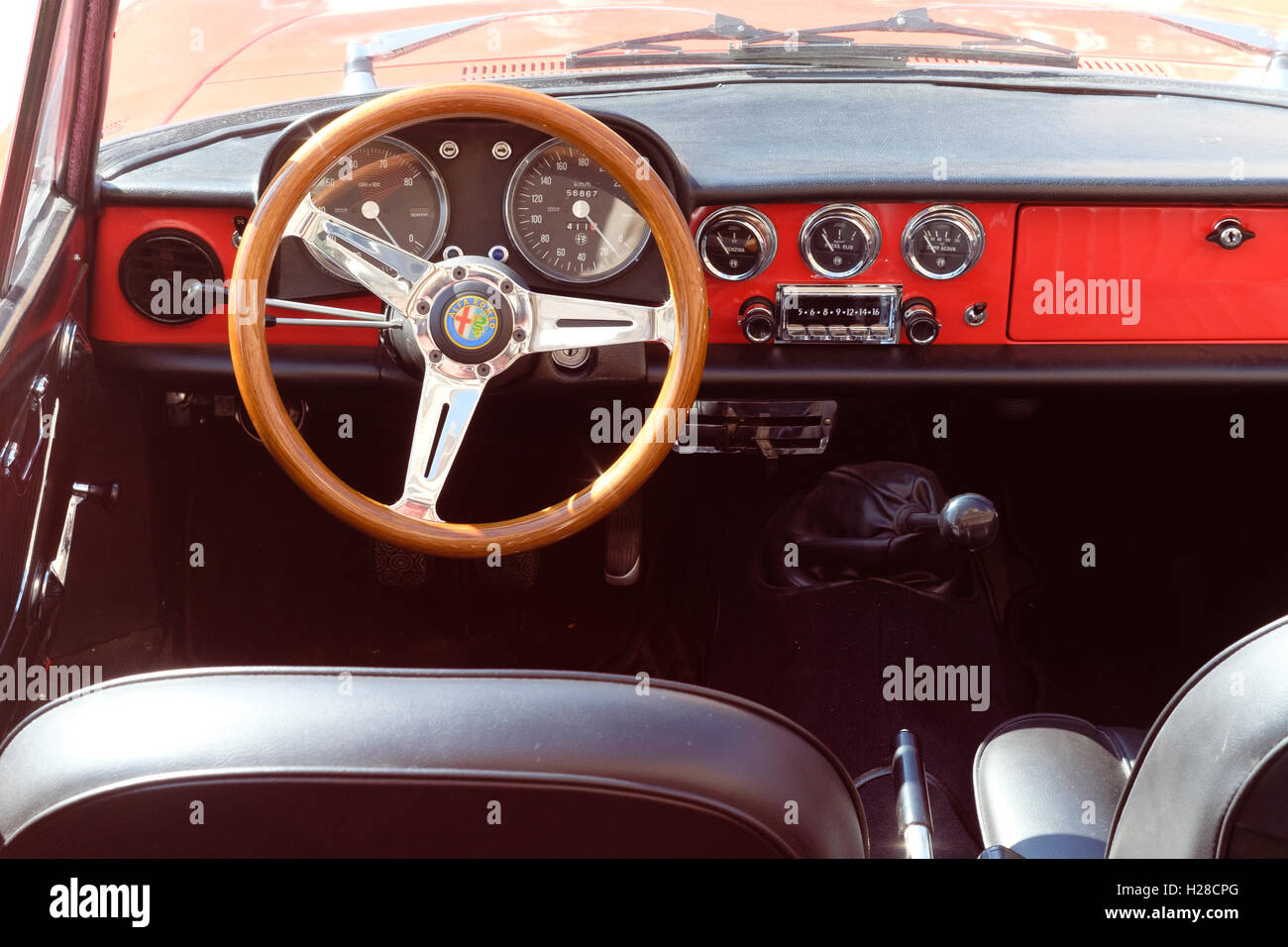 Ferrara, Italy -September 24, 2016. Interior of the Italian classic car, Alfa Romeo, photographed in Ferrara, Italy - Stock Image
