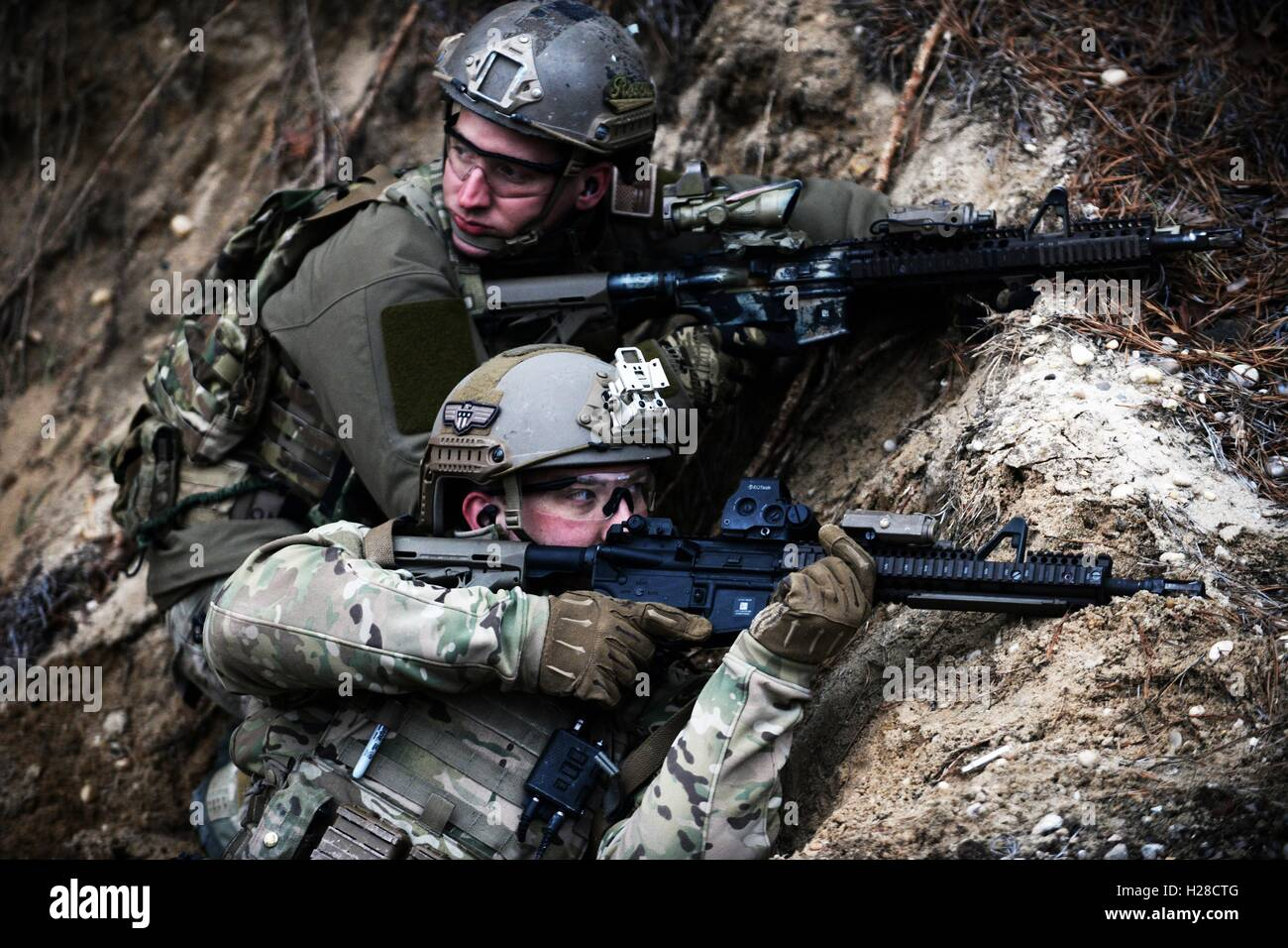 U.S. Air National Guard special operation airmen during live-fire training April 9, 2015 in Westhampton Beach, New - Stock Image