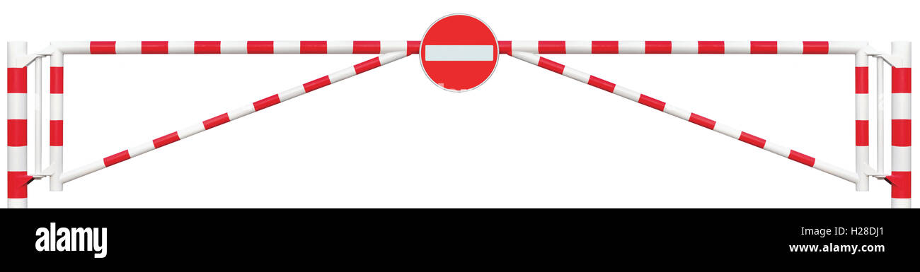 Gated Road Barrier Closeup, No Entry Sign, Roadway Gate Bar In Bright White And Red, Traffic Stop Block Vehicle - Stock Image