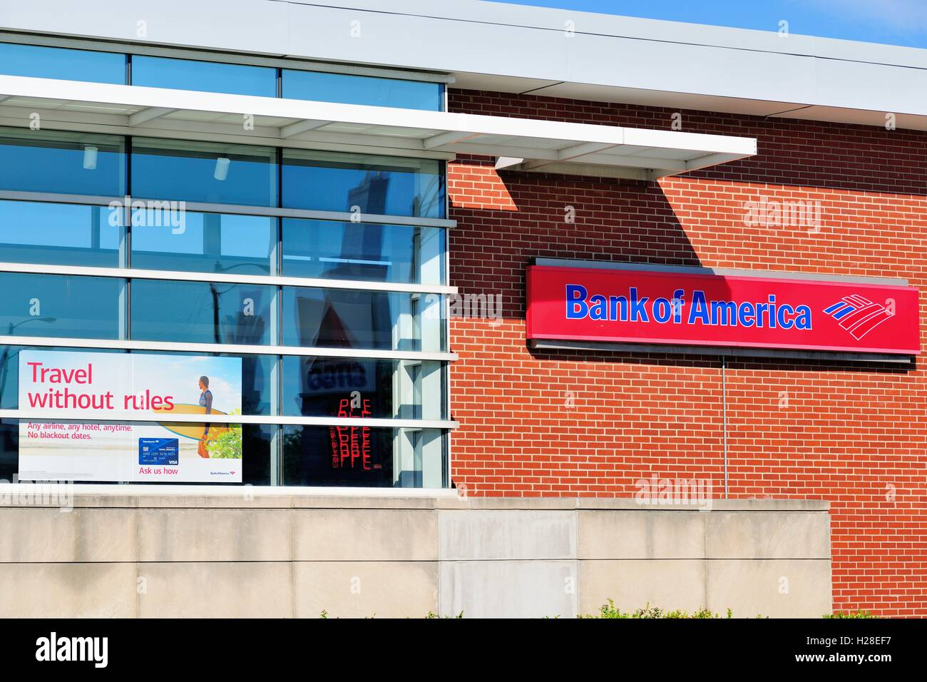 A Bank of America Bank branch in a neighborhood location in Chicago. Many banks have adopted a strategy toward area - Stock Image