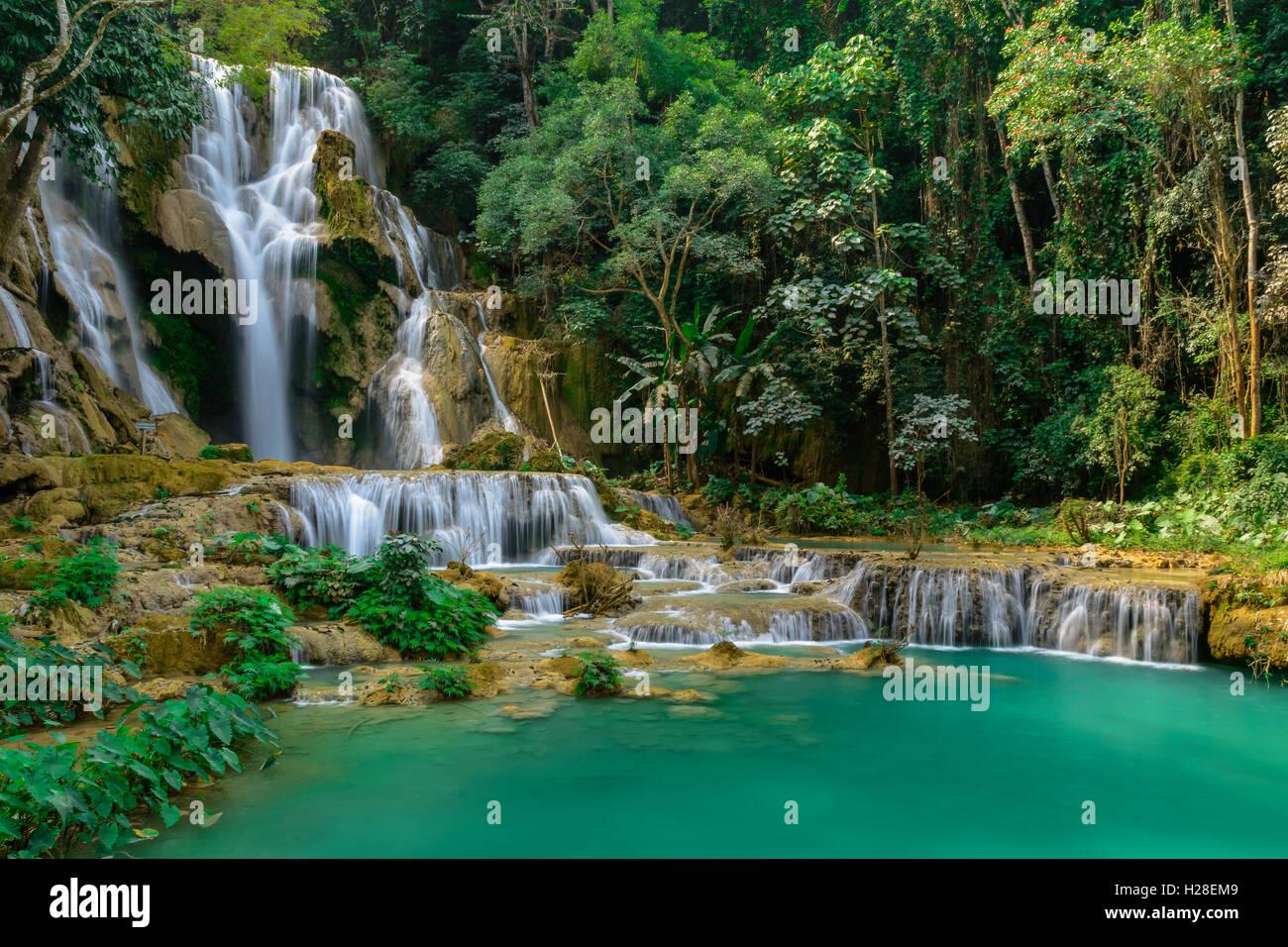 Kuang si water fall in Luang prabang,Laos. Stock Photo