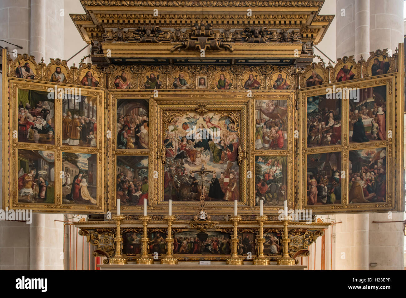 Triptych and Altar in Frauenmunster, Ingolstadt, Germany Stock Photo