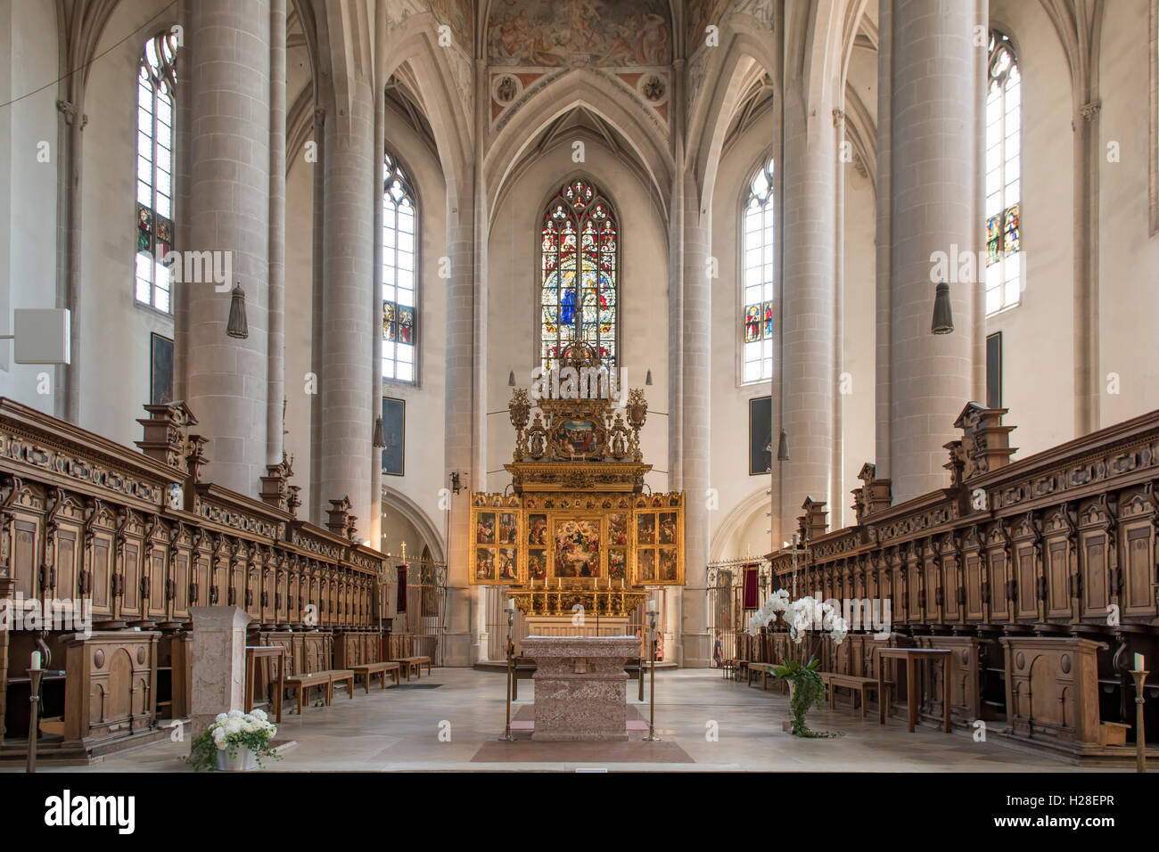 Altar and Chancel in Frauenmunster, Ingolstadt, Germany Stock Photo