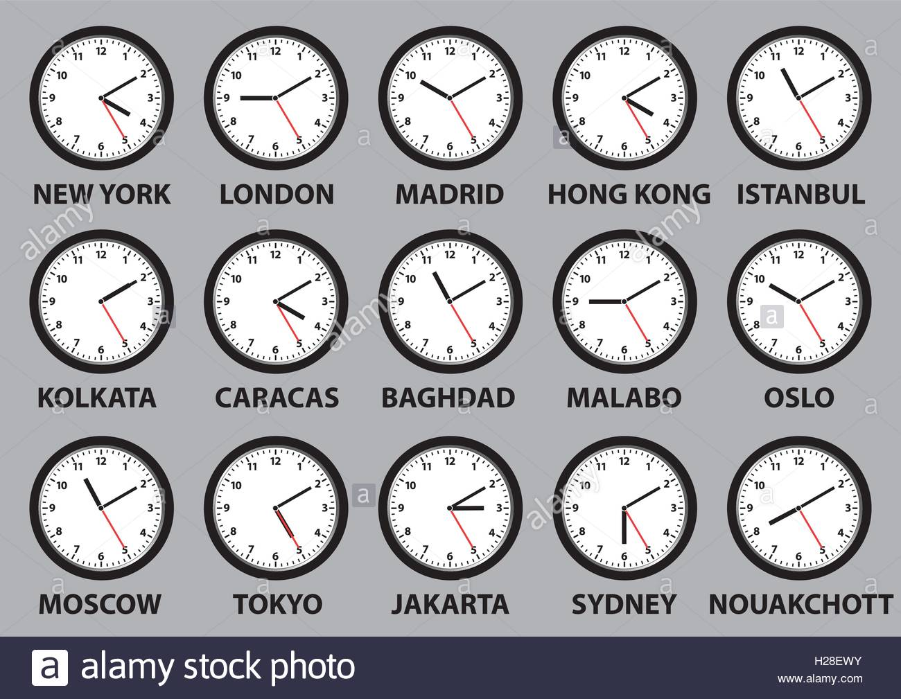 Some clocks faces showing time differences in diverse world cities. vector illustration - Stock Vector