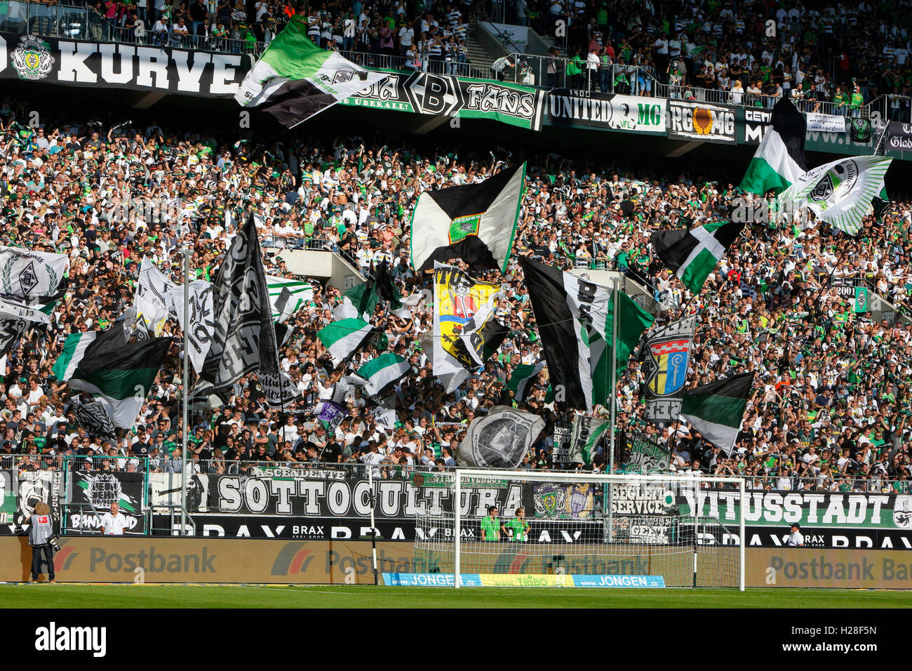 sports, football, Bundesliga, 2016/2017, Borussia Moenchengladbach versus FC Ingolstadt 04 2:0, Stadium Borussia Stock Photo