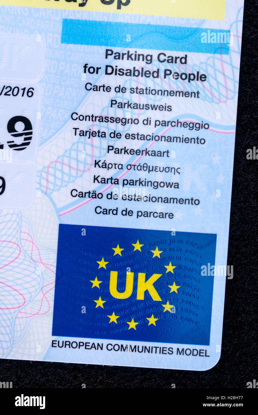 UK blue parking card for disabled people displaying the EU flag with words UK and European Communities Model. - Stock Image