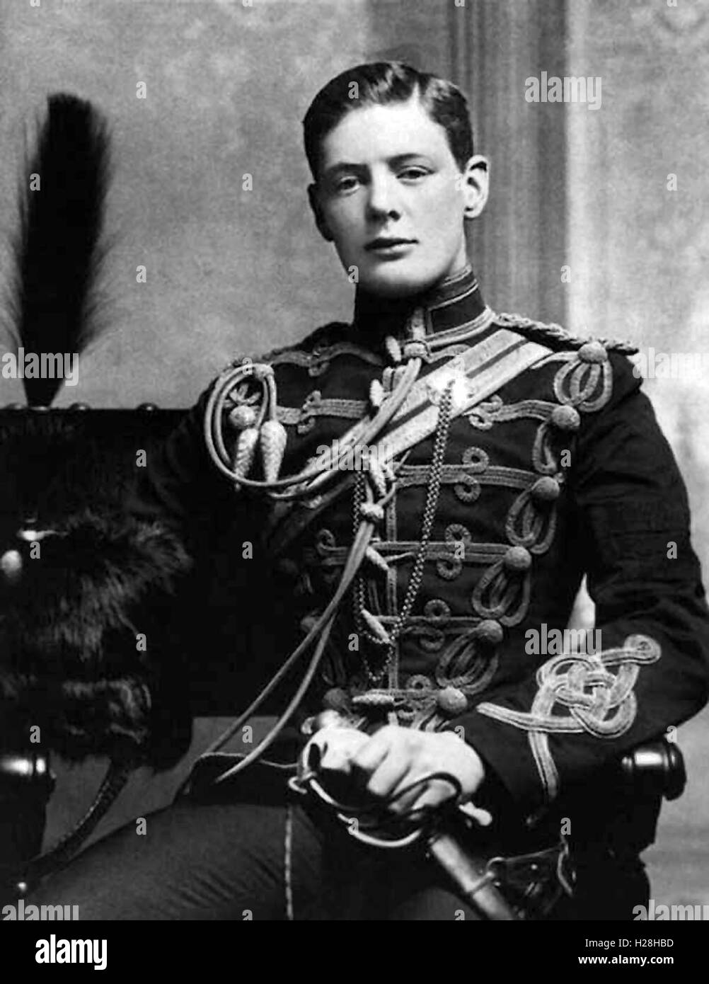 'Winston Churchill' in military uniform - Stock Image
