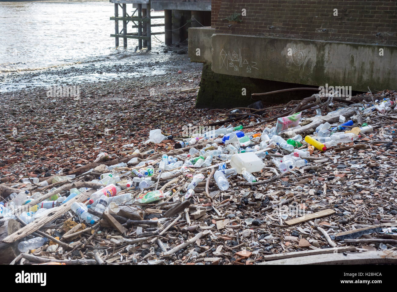 Plastic bottles and waste trash on the banks on the River Thames, London, UK - Stock Image