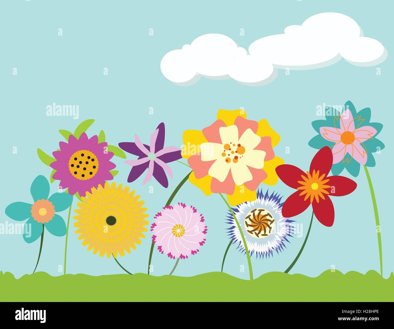 Bright multi-colored flowers sprouting up from grass against cloudy blue sky - Stock Vector