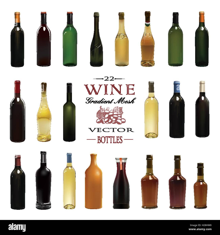 various types of wine bottles vector illustration stock vector art