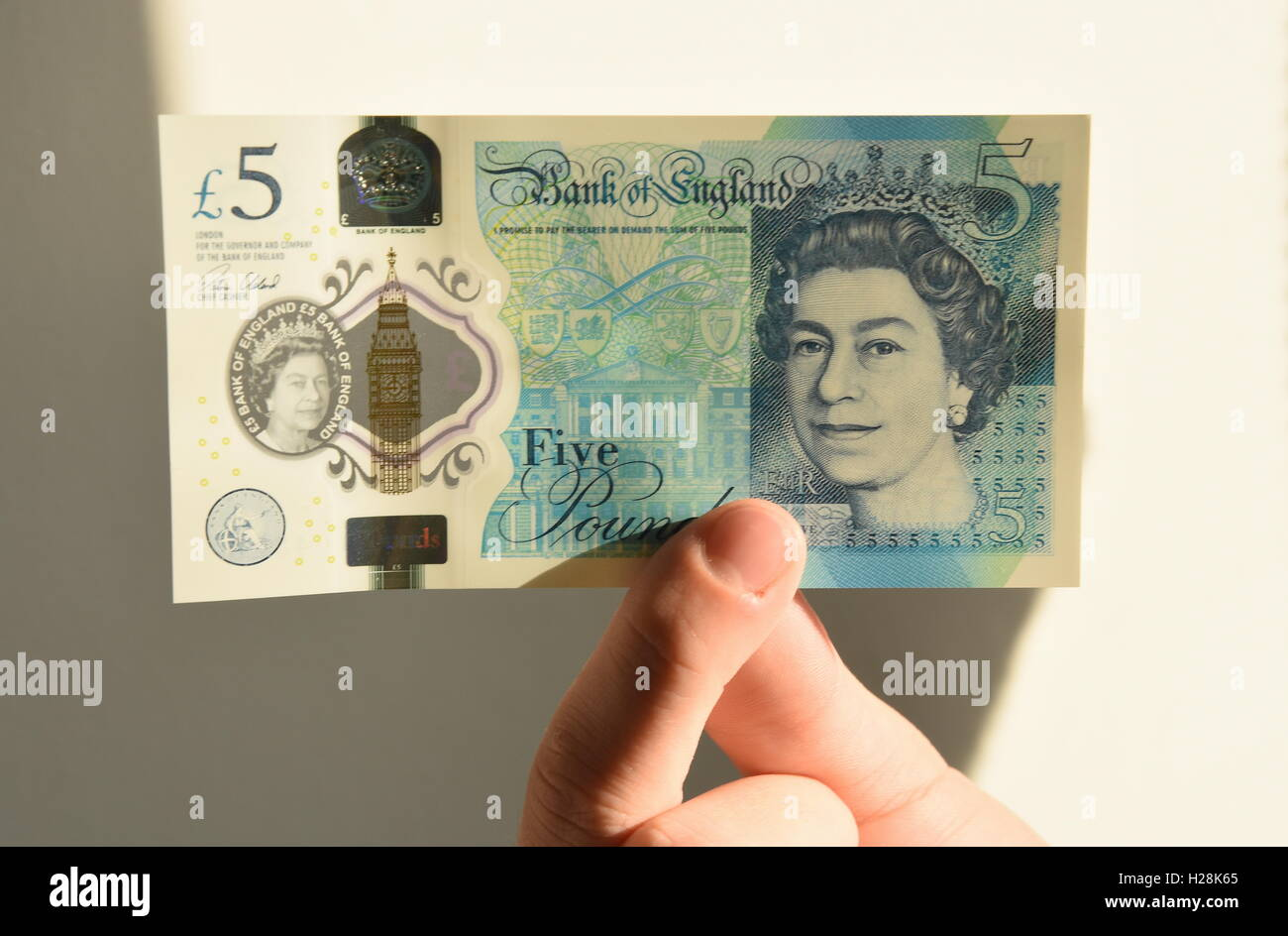 Close up of a teenage boy holding a new polymer UK five pound note - Stock Image