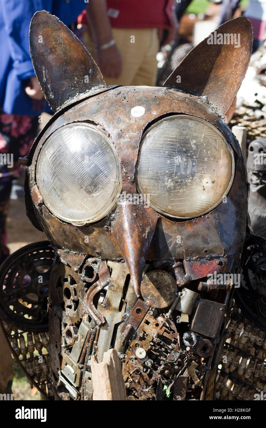 Owl Sculptures made from Spare car parts Stock Photo