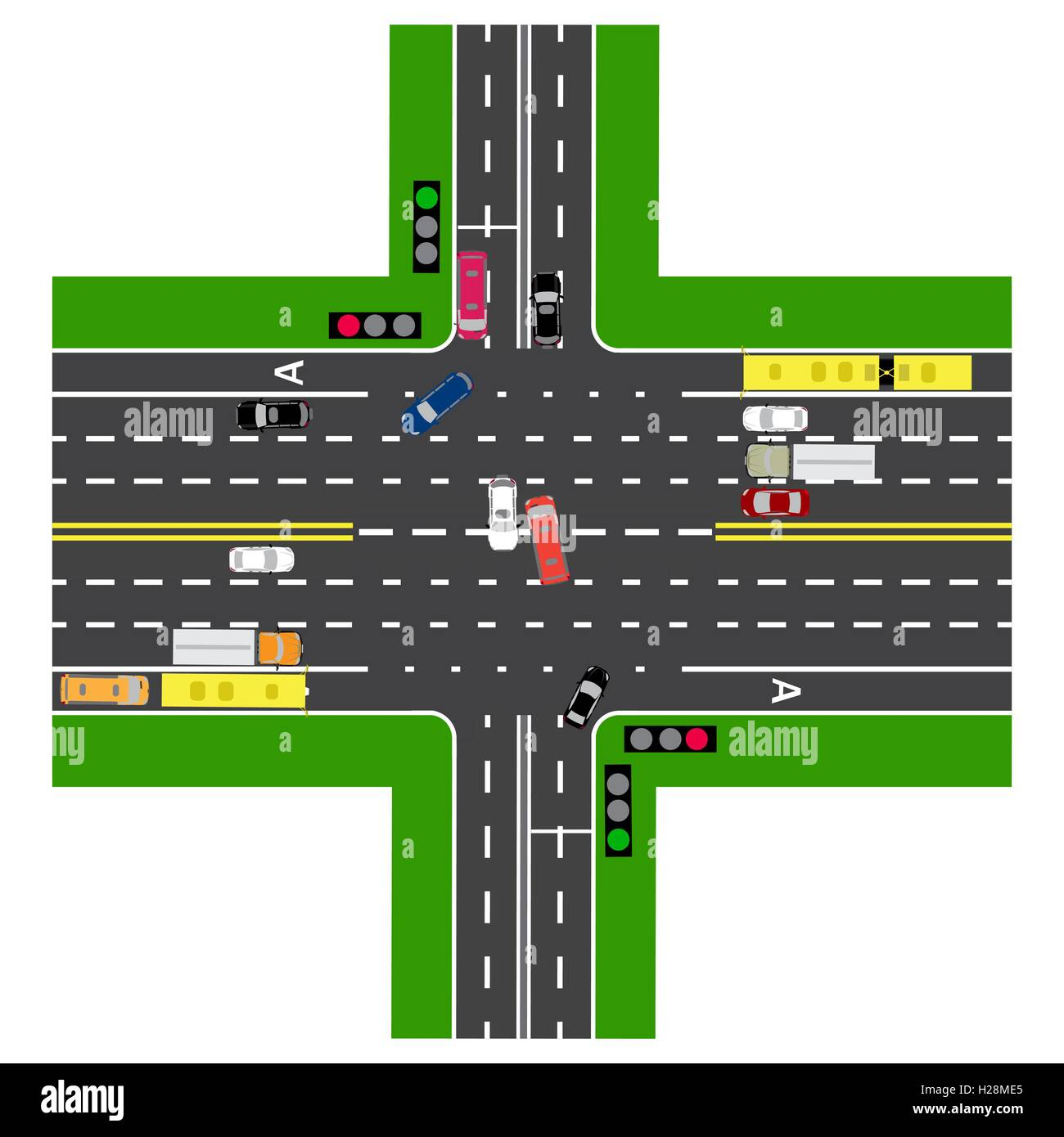 Road infographics. Most of the highway intersection with the road ...