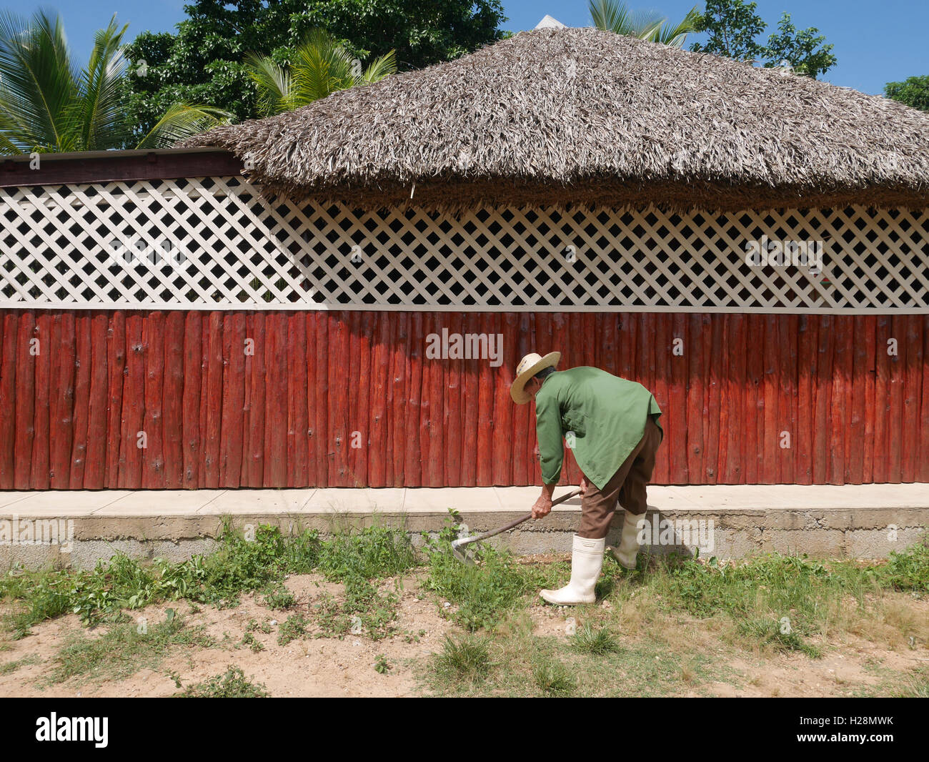 Red wall and man working - Stock Image