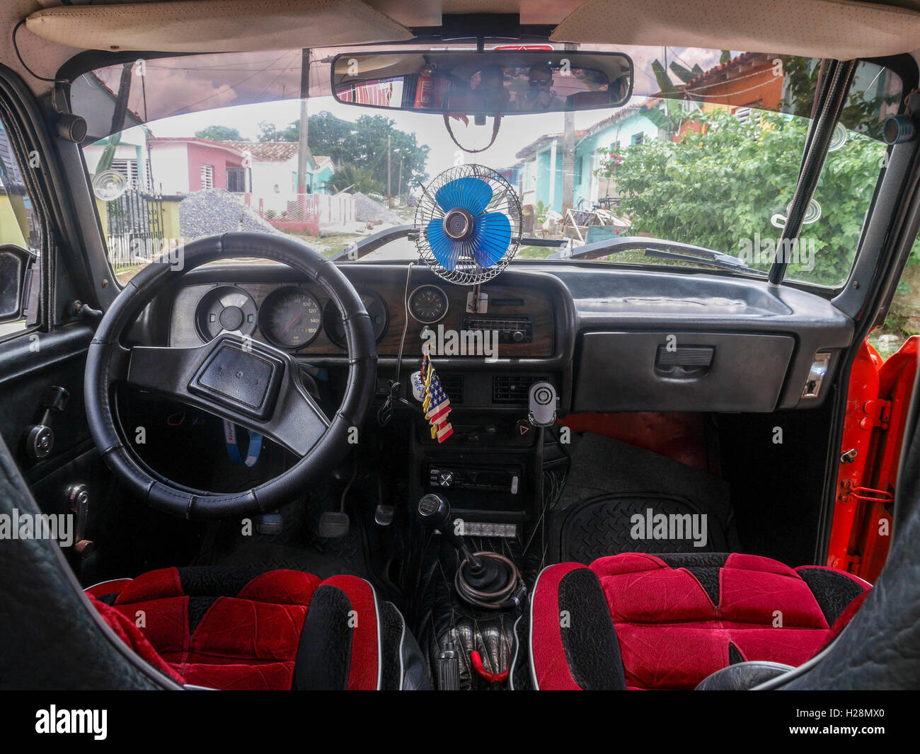 Inside of a taxi car - Stock Image