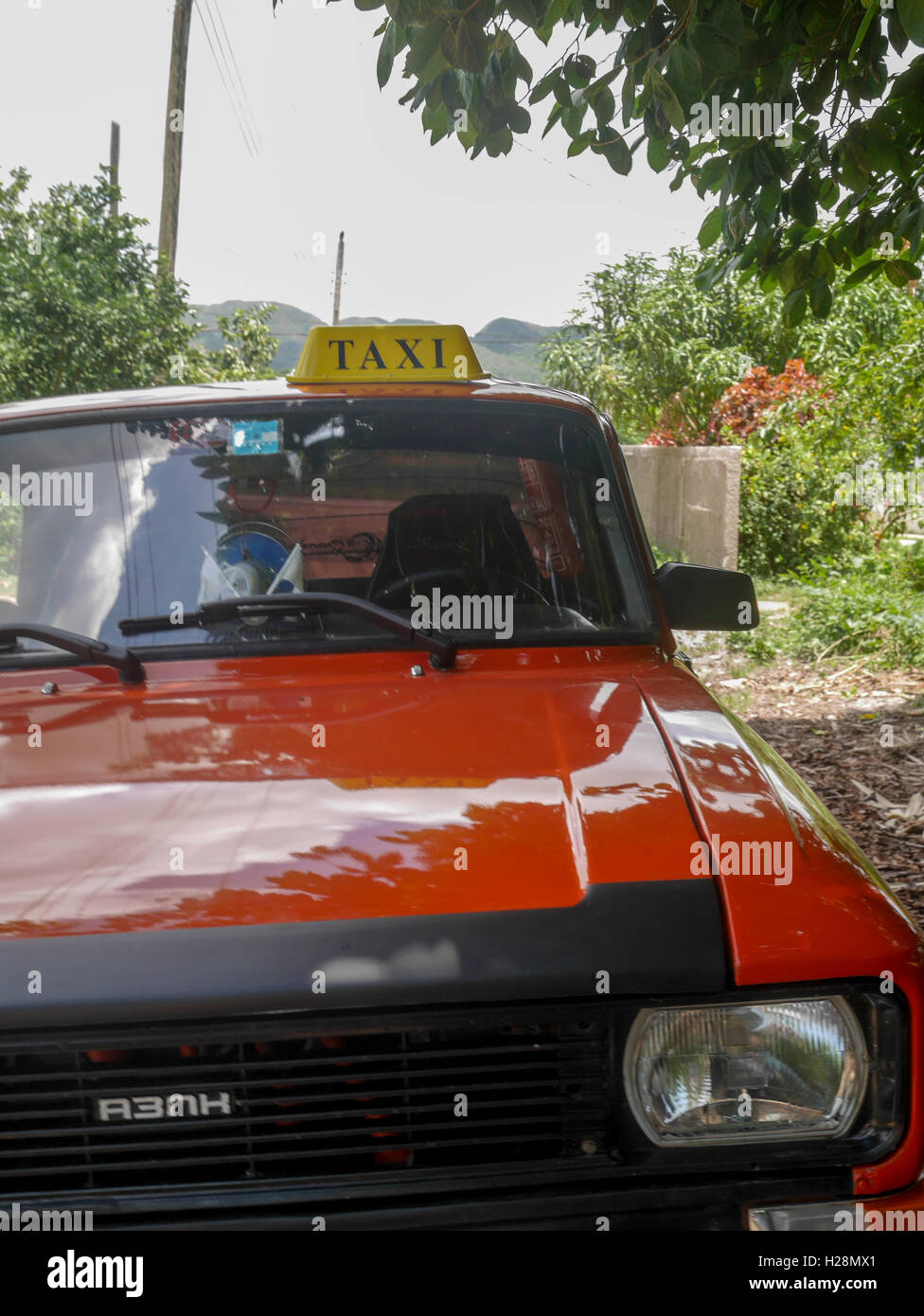 Red taxi car - Stock Image