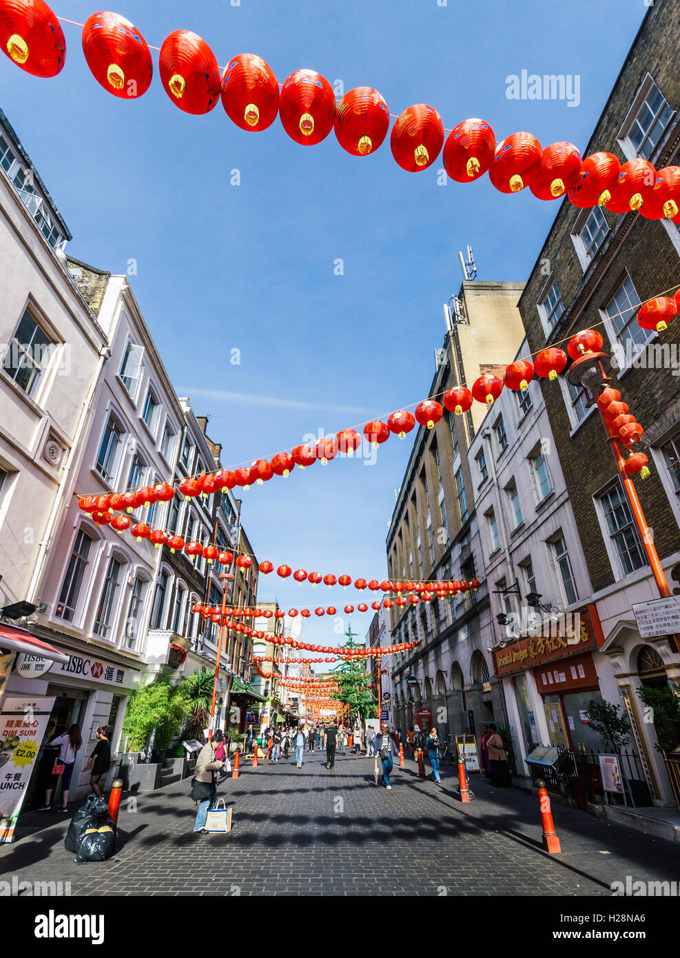 China Town is decorated by Chinese lanterns during Chinese New Year in London Stock Photo