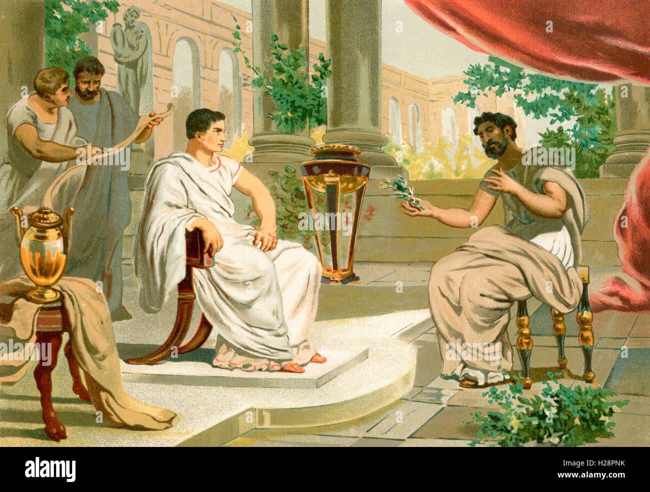 A meeting between Vespasian, left and Pliny the Elder, right, in ancient Rome.  Vespasian, AD 9 – AD 79. Roman emperor. - Stock Image