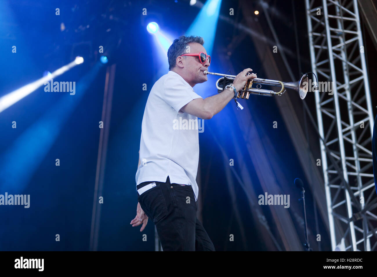 Andy diagram playing trumpet with the band james during their stock andy diagram playing trumpet with the band james during their performance on the main stage at the onblackheath music festival ccuart Image collections
