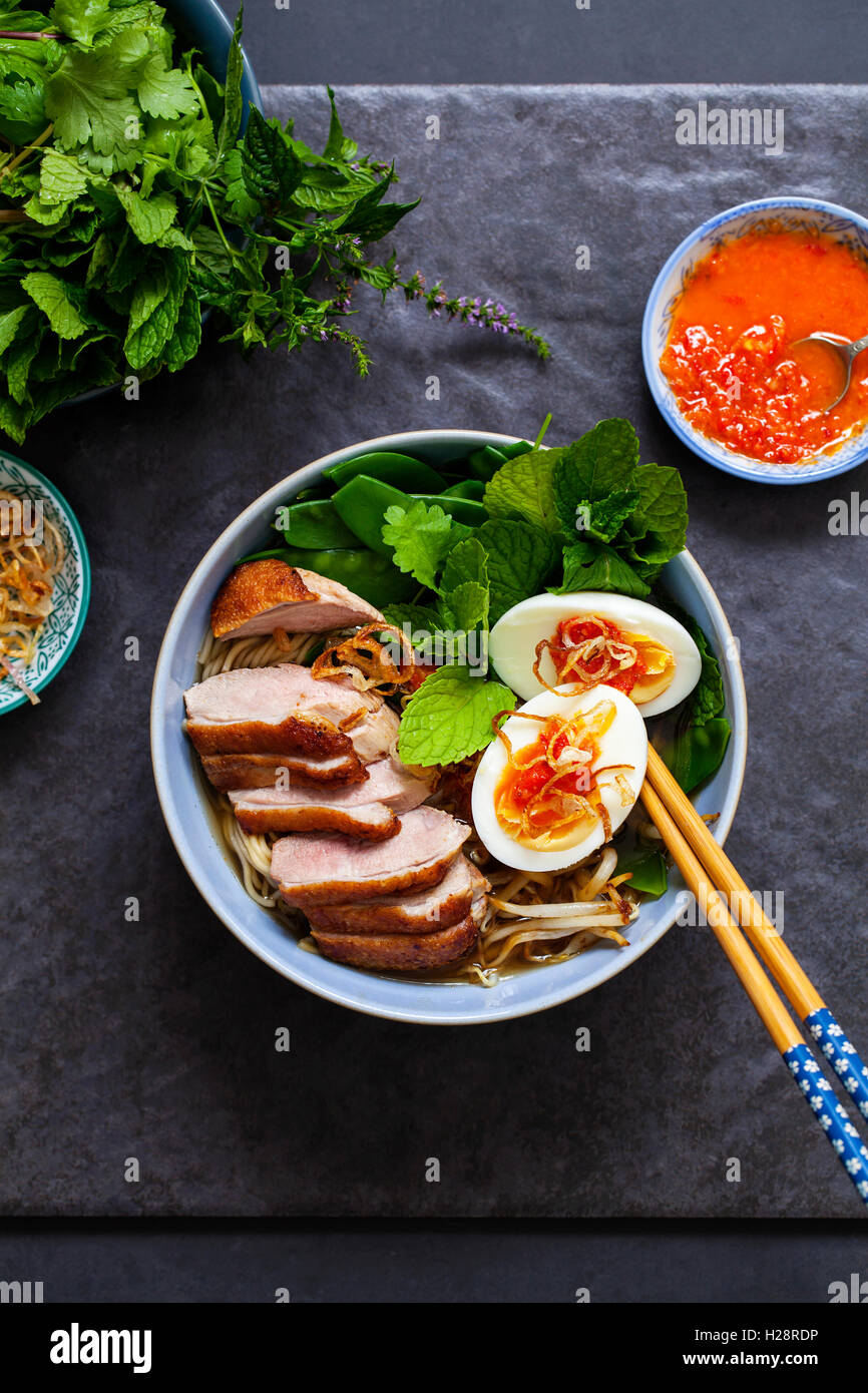 Vietnamese pho with duck with crispy skin, bean sprouts and egg, chili sauce and herbs - Stock Image