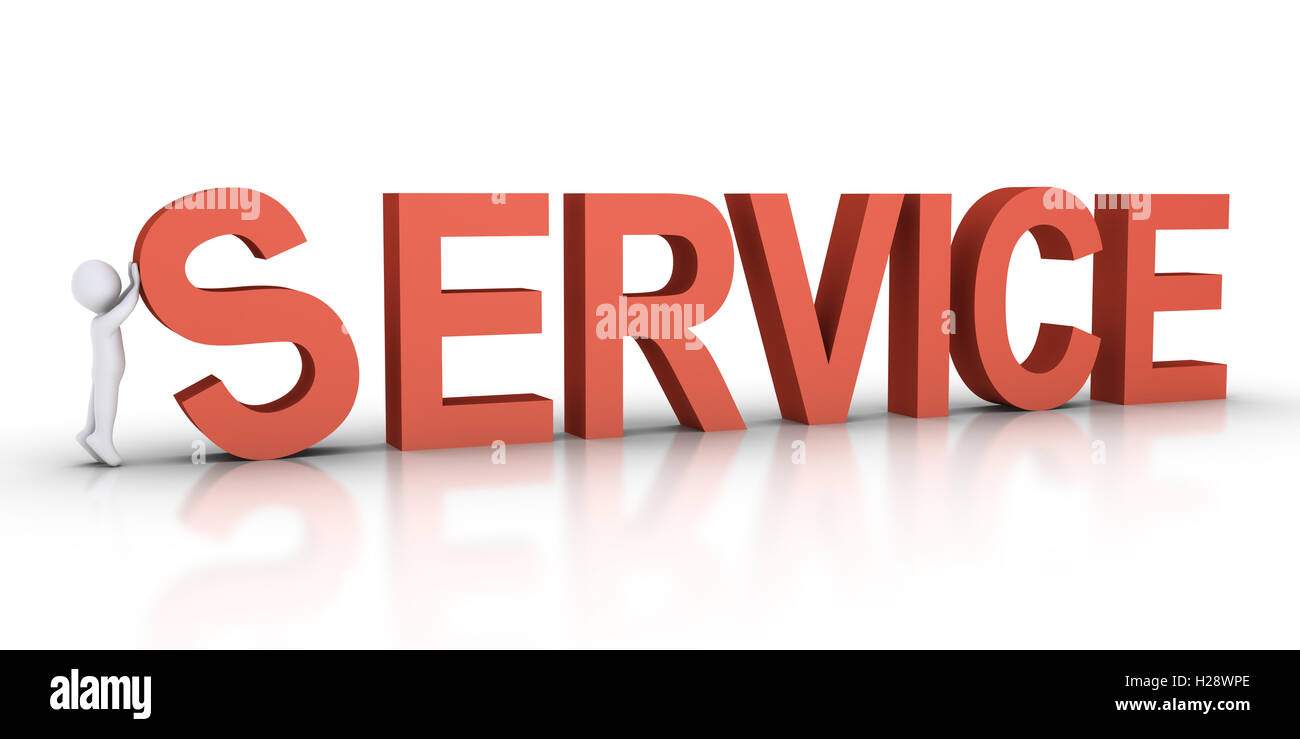 Person is setting up SERVICE word - Stock Image