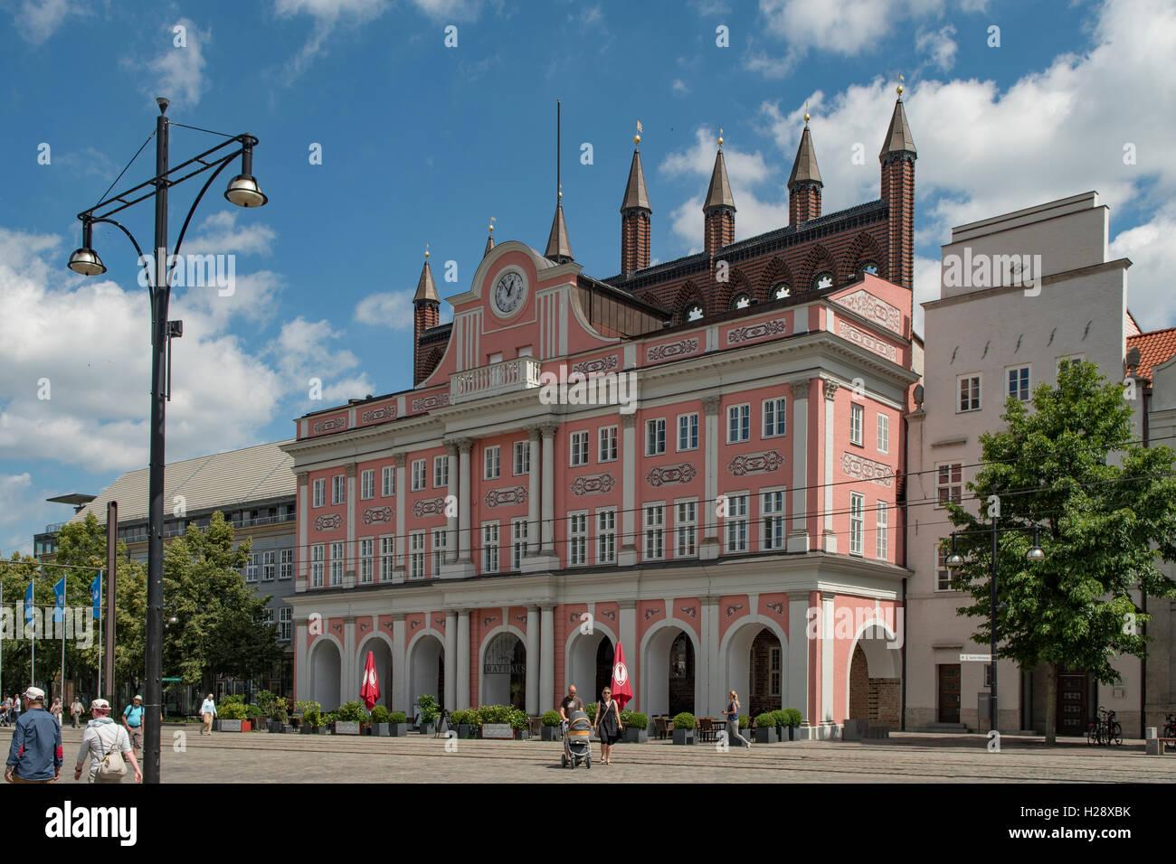 Rathaus, Rostock, Mecklenburg-Vorpommern, Germany - Stock Image