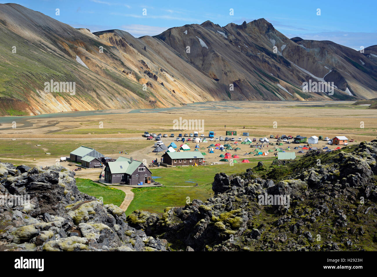 Camp site and Laugahraun lava field, Fjallabak National Park, Landmannalaugar, Iceland - Stock Image