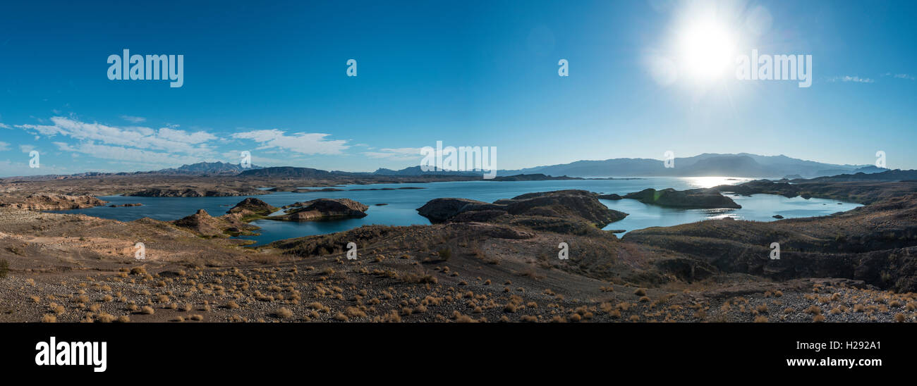 Dry landscape with lake Mead, Lake Mead National Recreation Area, Nevada, USA Stock Photo