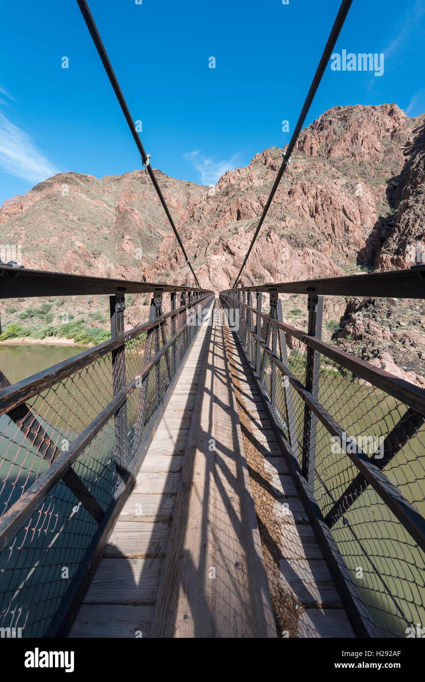 Bright Angel Trail, Kaibab Suspension Bridge, Bridge over Colorado River, Grand Canyon National Park, Arizona, USA - Stock Image