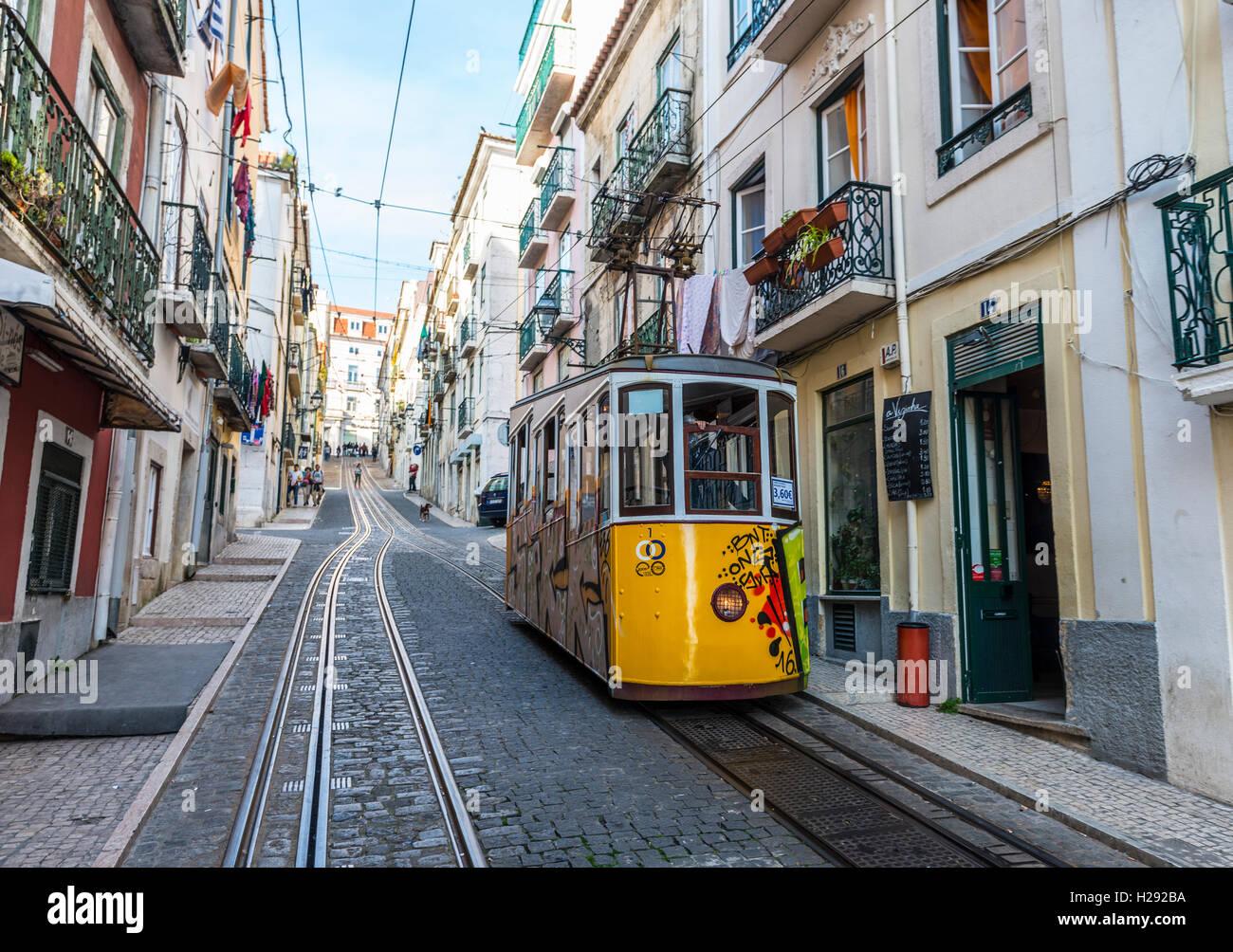 Ascensor da Bica, Bica Funicular, Calçada da Bica Pequena, Lisbon, Portugal - Stock Image