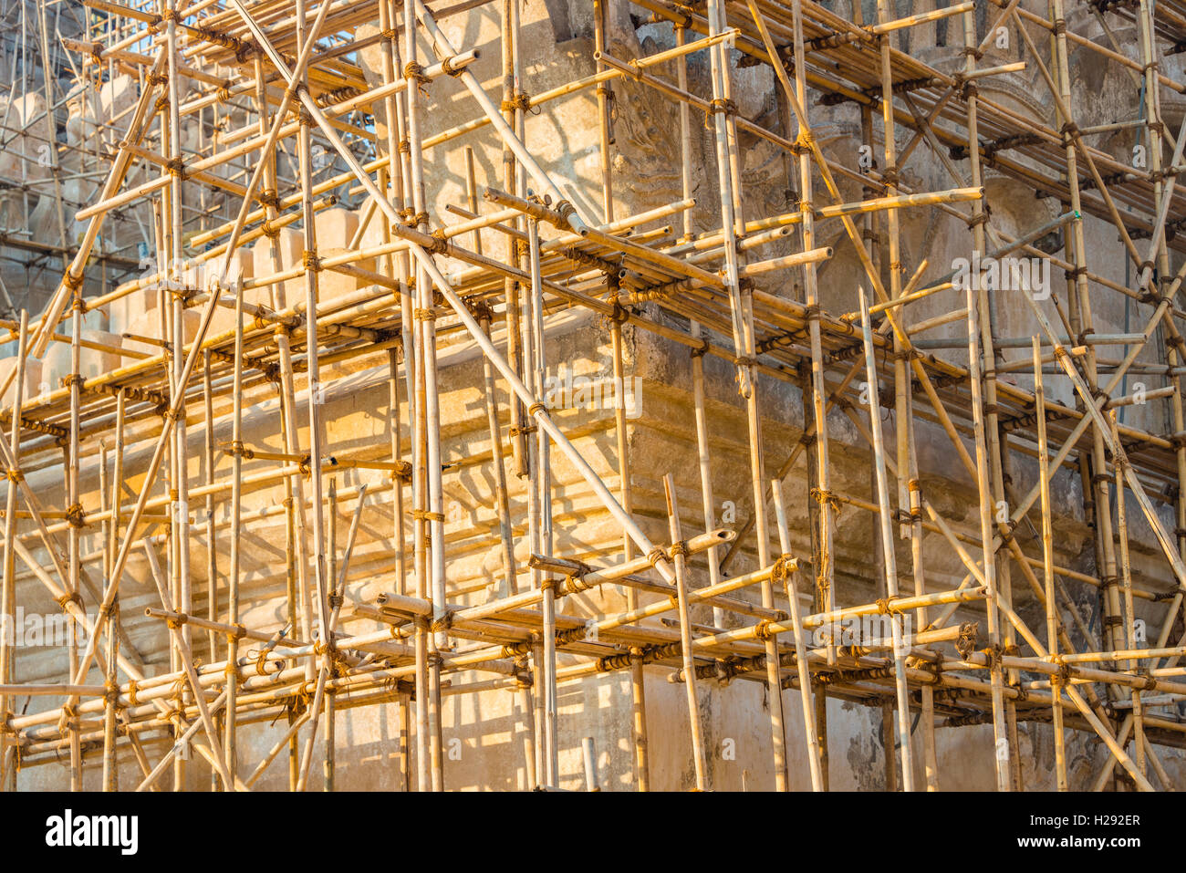 Bamboo scaffolding, construction work, Ananda Pahto Temple, Bagan, Mandalay Region, Myanmar - Stock Image