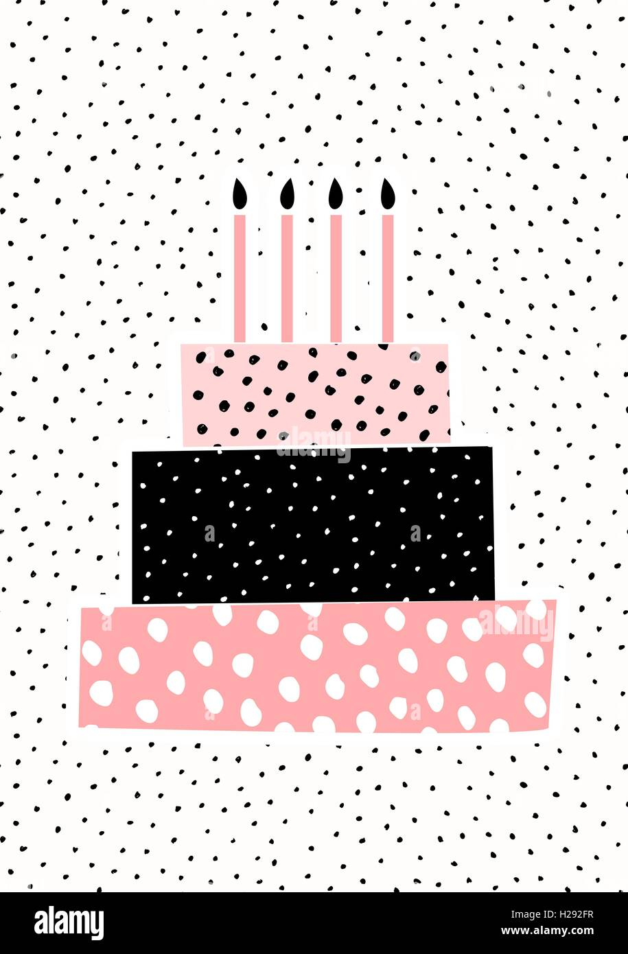 Greeting Card Template With A Cute Birthday Cake With Candles On Dots  Pattern Background.