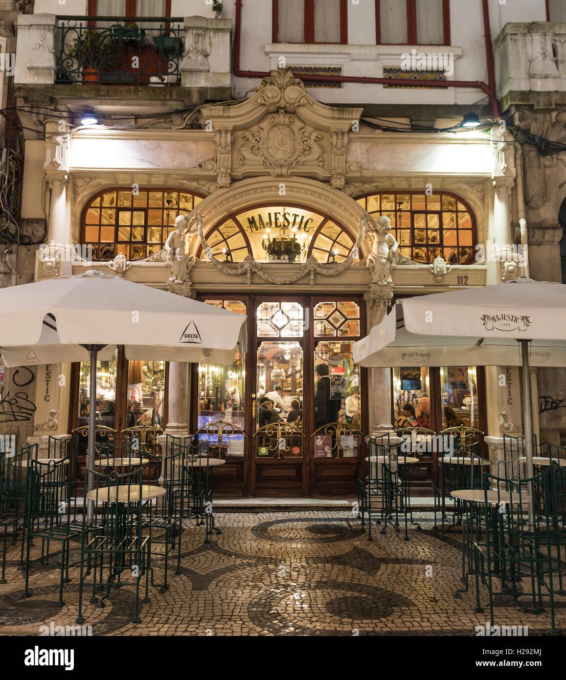 Majestic Café at night, Late Belle Époque, Porto, Portugal - Stock Image