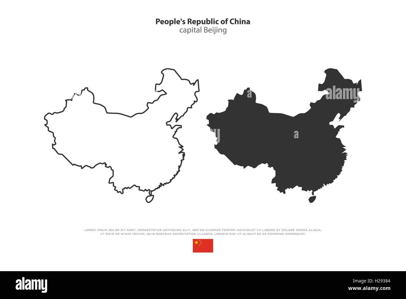 Peopleu0027s Republic Of China Isolated Map And Official Flag Icons. Vector  Chinese Political Maps Illustration. Asian Country Geogr