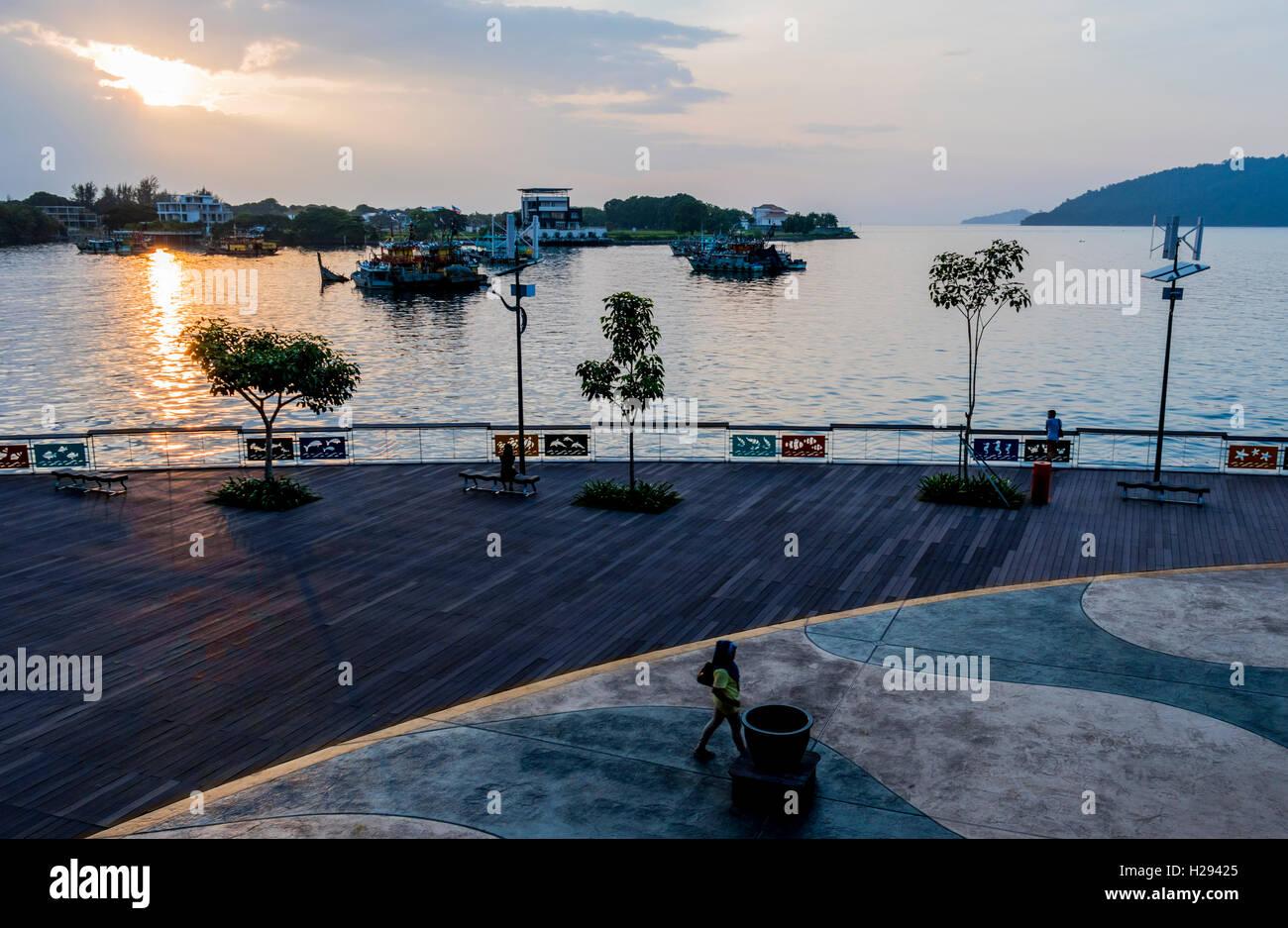 Boats in the South China Sea seen from Kota Kinabalu Sabah Malaysia Borneo - Stock Image